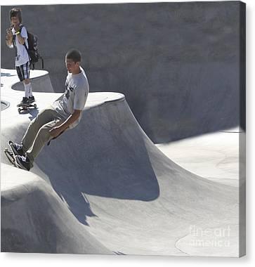 Beach Hop Canvas Print - Venice Skate Boarding by Chuck Kuhn