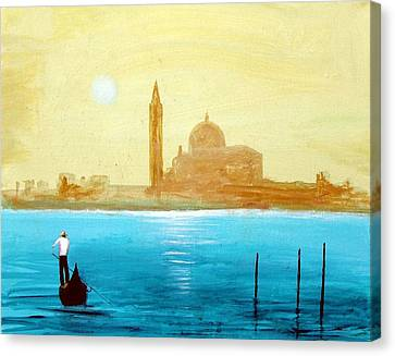 Canvas Print featuring the painting Venice Sunset by Larry Cirigliano