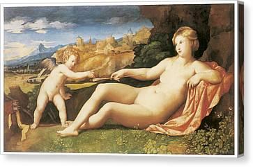 Venus And Cupid Canvas Print by Palma The Elder
