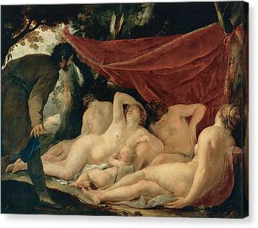 Venus And The Graces Surprised By A Mortal Canvas Print by Jacques Blanchard
