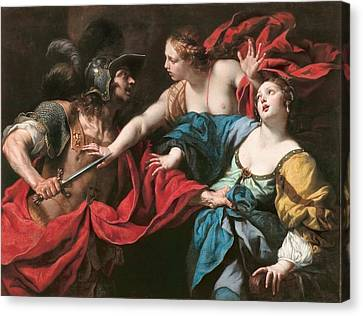 Venus Preventing Her Son Aeneas From Killing Helen Of Troy Canvas Print