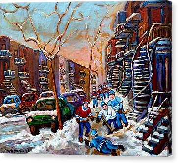 Verdun Montreal Hockey Game Near Winding Staircases And Row Houses Montreal Winter Scene Canvas Print by Carole Spandau