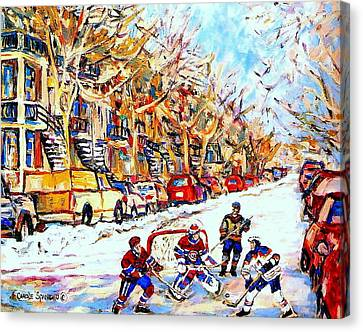 Verdun Street Hockey Game Goalie Makes The Save Classic Montreal Winter Scene Canvas Print by Carole Spandau