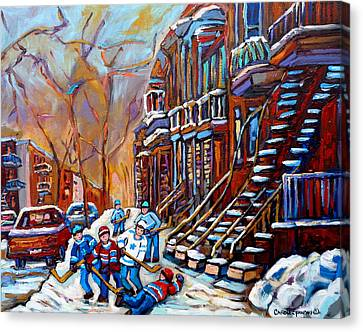 Verdun Street Scene Hockey Game Near Winding Staircases Vintage Montreal City Scene Canvas Print by Carole Spandau