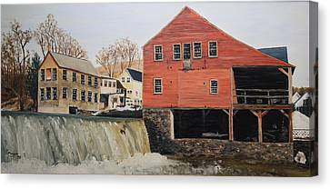 Vermont Mill Stream Canvas Print by Alan Mager
