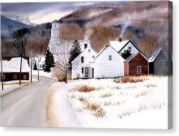 Vermont Winter Village Canvas Print by Karol Wyckoff