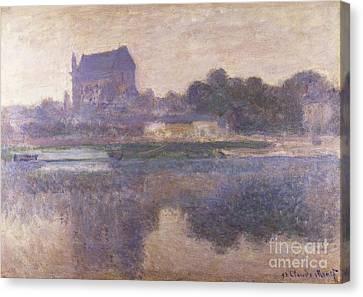 Vernon Church In Fog Canvas Print by Claude Monet