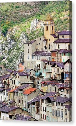 Vertical Panorama Of Saorge Canvas Print by Alexandre Fundone