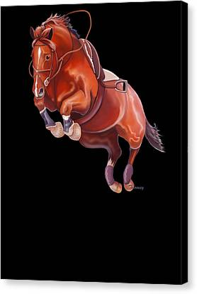 Very Free Jump On Course Canvas Print by Catherine Twomey