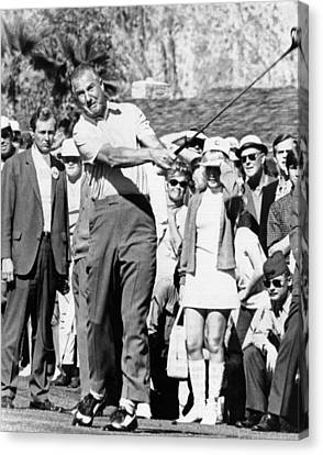 Vice President Spiro Agnew Golfing Canvas Print by Everett