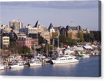 Victoria B.c. Cityscape Canvas Print by MaryJane Armstrong