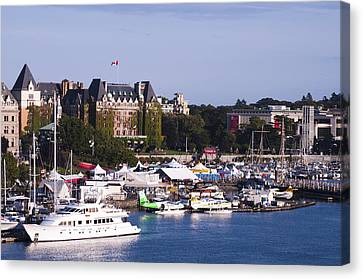 Victoria B.c.'s Inner Harbor Canvas Print by MaryJane Armstrong