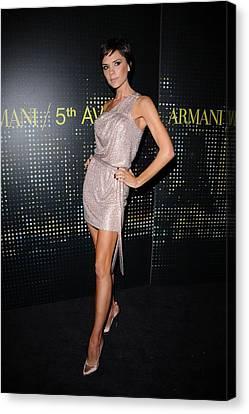 One-shoulder Dress Canvas Print - Victoria Beckham Wearing Armani Dress by Everett