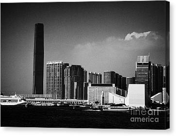 Victoria Harbour View Of Kowloon Tsim Sha Tsui Skyline Including Star Ferry Terminal Hong Kong Canvas Print