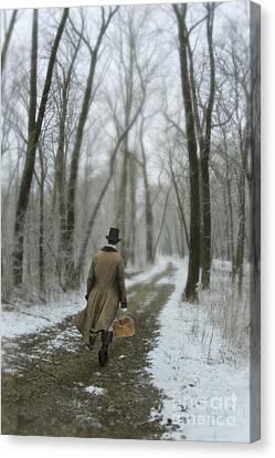 Victorian Gentleman Walking Through Woods Canvas Print by Jill Battaglia