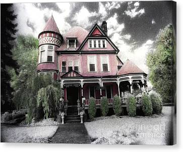 Victorian Mansion Heather House-hand Colored Infrared Photo Canvas Print by Kathy Fornal