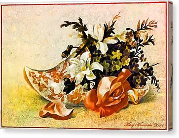 Canvas Print featuring the mixed media Victorian Trade Card by Mary Morawska