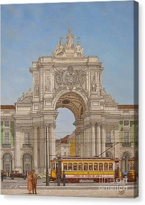 Victory Ach Lisbon - Arco Da Vitoria Lisboa Canvas Print by Carlos De Vasconcelos Tavares