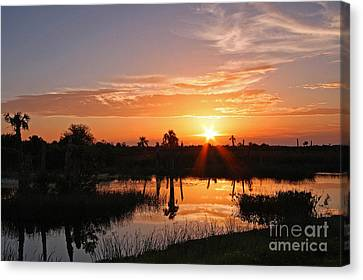 Viera Wetlands Sunset Canvas Print by Jennifer Zelik