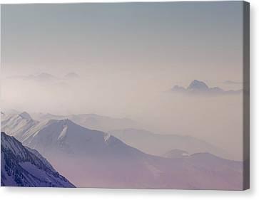 View Across Chamonix Valley Canvas Print by Ginny Battson