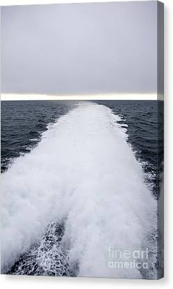 View From Back Of Ferry, Strait Of Juan De Fuca, Washington Canvas Print by Paul Edmondson