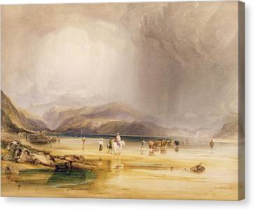 View From Snowdon From Sands Of Traeth Mawe Canvas Print by Anthony Vandyke Copley
