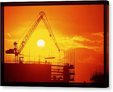 View Of A Construction Site At Sunset Canvas Print