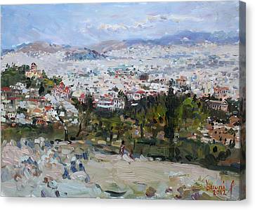 Athens Canvas Print - View Of Athens From Acropolis by Ylli Haruni