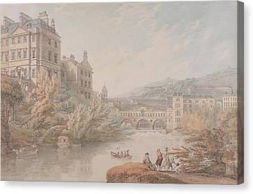View Of Bath From Spring Gardens  Canvas Print by Thomas Hearne