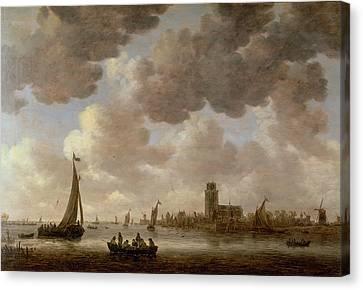 View Of Dordrecht Downstream From The Grote Kerk Canvas Print by Jan Josephsz van Goyen