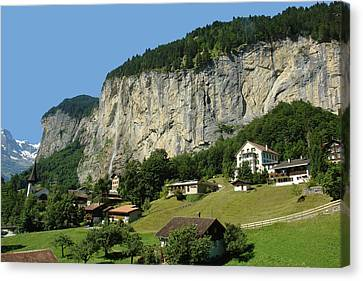 View Of Greenery And Waterfalls On A Swiss Cliff Canvas Print