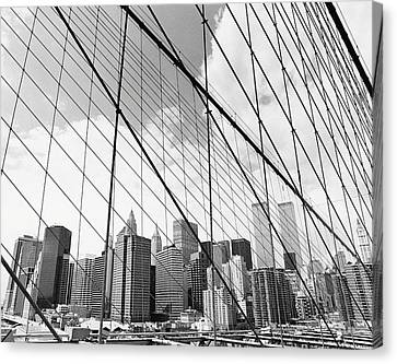 View Of New York From Brooklyn Bridge, Usa Canvas Print by Martin Child