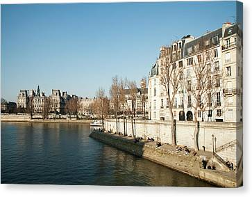 View Of Seine River, Paris Canvas Print by Carlo A