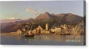 View Of Taormina Sicily Canvas Print by Alessandro la Volpe