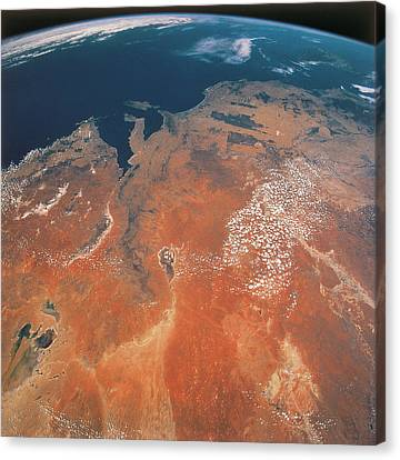 Satellite View Canvas Print - View Of The Earth From Outer Space by Stockbyte