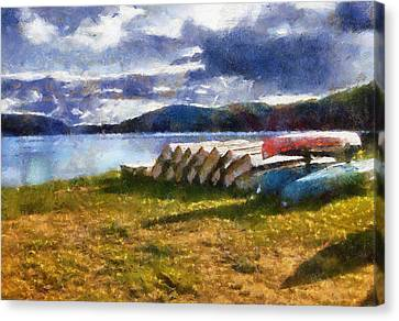 Canvas Print featuring the painting View Of The Lake From Camp Dorset by Mario Carini