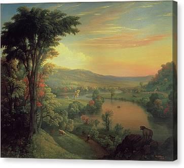 View Of The Mohawk Near Little Falls Canvas Print by Mannevillette Elihu Dearing Brown