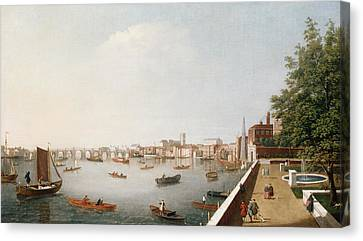 Westminster Abbey Canvas Print - View Of The River Thames From The Adelphi Terrace  by William James