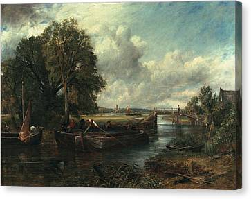 View Of The Stour Near Dedham Canvas Print by John Constable