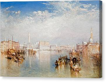 View Of Venice The Ducal Palace Dogana And Part Of San Giorgio Canvas Print by Joseph Mallord William Turner