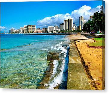 Canvas Print featuring the photograph View Of Waikiki by Joe Finney