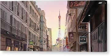 View On Eiffel Tower From Rue Saint Dominique Paris France Canvas Print