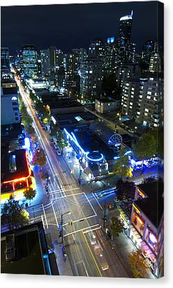 View On Vancouver By Night Canvas Print by Corepics