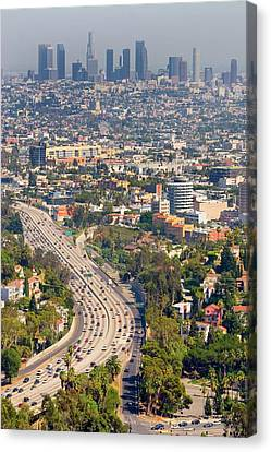 View Over Hollywood & Downtown Los Angeles Canvas Print by Photograph by Geoffrey George