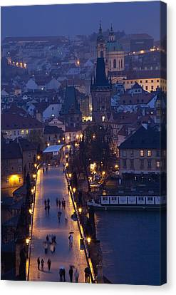 View Over The Charles Bridge Towards Canvas Print by Axiom Photographic