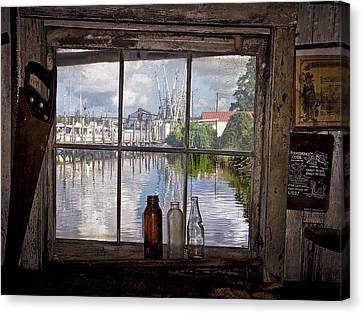 View Through Fish House Window Canvas Print by Sandra Anderson