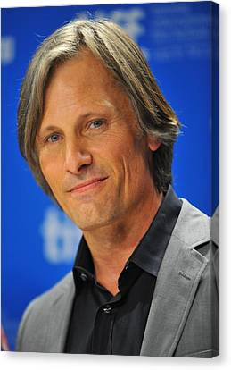 Viggo Mortensen At The Press Conference Canvas Print