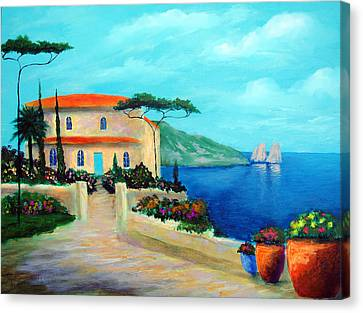 Villa Of Amalfi Canvas Print by Larry Cirigliano