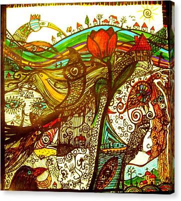 Village Hidden Deep In One Strange Dream Canvas Print by Branko Jovanovic