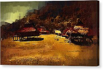Village In Northern Burma Canvas Print by Fran Woods